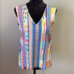 Ivy Jane Woven Multi Colored Frayed Edges Tank